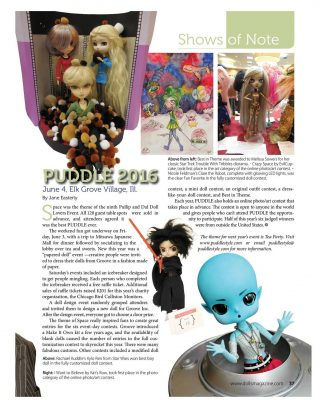 PUDDLE coverage in the October 2016 issue of Dolls magazine